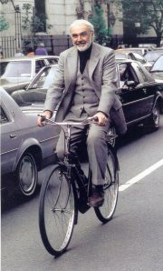 Sean Connery rides a bike